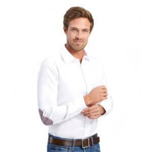 Slim Fit Herren Hemd mit Ellenbogen-Patches