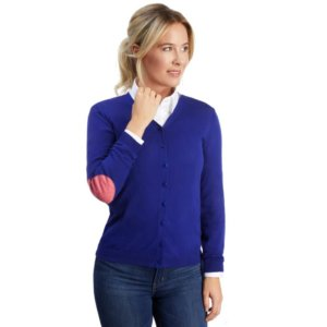 Blauer Damen Cardigan mit Ellenbogen-Patches