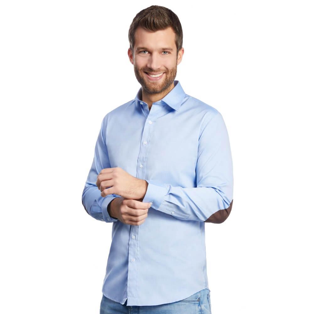 blaues herren hemd mit patches slim fit allbow. Black Bedroom Furniture Sets. Home Design Ideas