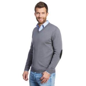 Grauer Pullover mit Ellbogen-Patches