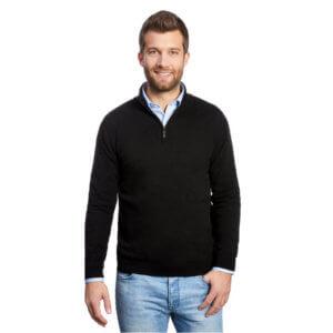 Pullover mit Patches Herren Stehkragen